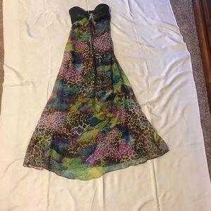 B2G1 Hailey Logan Strapless BLK Floral Long Dress